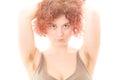 Woman with Hairy Armpits Royalty Free Stock Photo