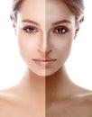 Woman half face tan beautiful portrait Royalty Free Stock Photo