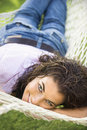Woman in hammock. Royalty Free Stock Photos