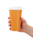 Woman hand with coffee cup paper take away Royalty Free Stock Photos