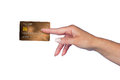 Woman hand with credit card holding golden isolated Royalty Free Stock Image