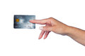 Woman hand with credit card holding isolated Stock Images