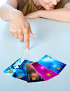 Woman hand with credit cards pointing at collection of Stock Image