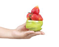 Woman hand with fruits holding mixed fruit Royalty Free Stock Photo
