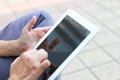 Woman hand on iPad