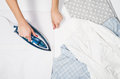 Woman Hand Ironing Clothes Top...