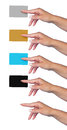 Woman hand isolated holding credit card blank diferent color shapes Stock Photos