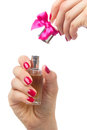 Woman hand open spraying perfume Royalty Free Stock Photography