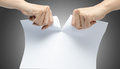 Woman Hand Ripping White Paper...