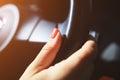 Woman hand on steering wheel Royalty Free Stock Photo