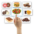 Woman hand uses touch screen interface with food on white background Royalty Free Stock Photos