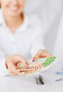 Woman hands with euro cash money business office household banking tax gambling concept Royalty Free Stock Photos