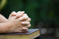 Woman hands folded in prayer on a Holy Bible for faith concept Royalty Free Stock Photo