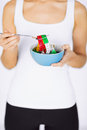 Woman hands holding bowl with measuring tape sport and diet concept Royalty Free Stock Photography