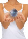 Woman hands holding earth globe bright closeup picture of Royalty Free Stock Photography