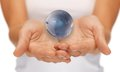 Woman hands holding earth globe bright closeup picture of Royalty Free Stock Images