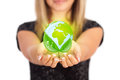 Woman hands holding eco sign concept save green planet symbol environmental protection Stock Photography