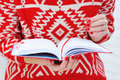 Woman hands holding red diary Royalty Free Stock Photo