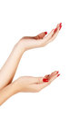 Woman hands with red nails Royalty Free Stock Photography