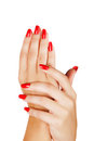 Woman hands with red nails Stock Photo