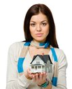 Woman hands small model house wearing colored scarf isolated on white Stock Photography