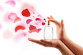 Woman hands spraying rose petals close up of from beautiful perfume bottle Stock Photo