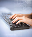 Woman hands typing on keyboard business education and technology concept Stock Photography