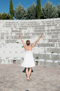 Woman with hands up outdoor portrait of lifted to sky Royalty Free Stock Photography