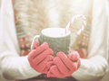 Woman hands in woolen red gloves holding a cozy mug with hot cocoa, tea or coffee and a candy cane. Winter and Christmas concept. Royalty Free Stock Photo