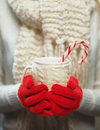 Woman hands in woolen red gloves holding cozy mug with hot cocoa, tea or coffee and candy cane. Winter and Christmas time concept. Royalty Free Stock Photo