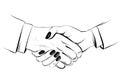 Woman handshake, hand drawn vector sketch illustration. Businessman and businesswoman.