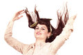 Woman happy expression s with flying hair and hands Royalty Free Stock Photo