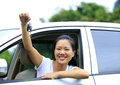 Woman happy with first car driver her Royalty Free Stock Photo