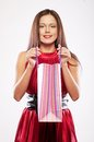 Woman happy holding shopping bags beautiful Royalty Free Stock Photography