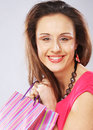 Woman happy holding shopping bags beautiful Royalty Free Stock Photo