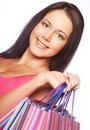 Woman happy holding shopping bags beautiful Stock Images
