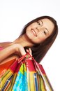 Woman happy holding shopping bags beautiful Royalty Free Stock Images