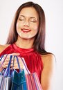 Woman happy holding shopping bags beautiful Stock Photo