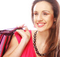 Woman happy holding shopping bags beautiful Stock Image