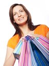 Woman happy holding shopping bags beautiful Royalty Free Stock Image