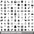 100 woman happy icons set, simple style