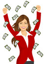 Woman happy seeing raining money bills Royalty Free Stock Photo