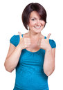 Woman is so happy and smiles bright Royalty Free Stock Photo