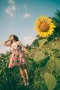 Woman happy in sunflower flower field. Royalty Free Stock Photo