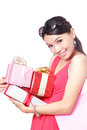 Woman happy take gifts with smile Royalty Free Stock Image