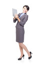 Woman happy using tablet pc Royalty Free Stock Photos