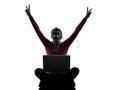 Woman happy winning  computing laptop computer silhouette Royalty Free Stock Image