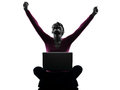 Woman happy winning computing laptop computer silhouette one caucasian in studio isolated on white background Stock Photography