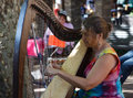 Woman Harpist Stock Image