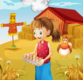 A woman harvesting eggs illustration of Royalty Free Stock Photo